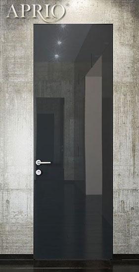 Двери скрытого монтажа, полотно-крашенное стекло по RAL NCS